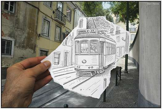 Pencil-Drawings-Combined-With-Photographs-2