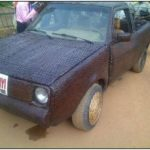 Covered His Car Inside and Outside From Woven Raffia Palm Cane
